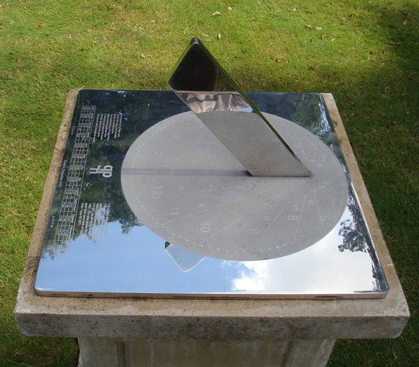 "Stainless Sundial showing the unique ""line of light"" at noon"