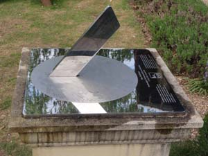 Stainless steel sundial at a visitor centre